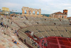 People inside Arena Verona - the place of annual festival operas Royalty Free Stock Photography