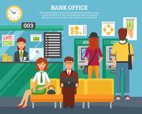 People Inside Bank Office Design Concept Stock Images