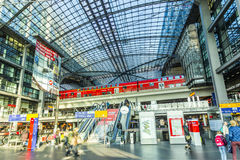 People inside the Berlin Central Station Royalty Free Stock Image