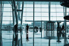 People inside the building. People inside the airport building Stock Photo