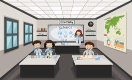 People inside chemistry lab. Illustration vector illustration