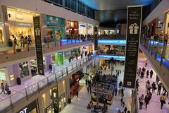 People inside Dubai Mall in United Arab Emirates royalty free stock photos