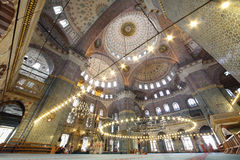 People inside grand, beautiful and old New Mosque Royalty Free Stock Photo