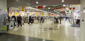 People inside hypermarket. That just opened Royalty Free Stock Photos