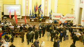 People inside Kiev State City Administration, Euro maidan meeting, Kiev,Ukraine, Royalty Free Stock Photography