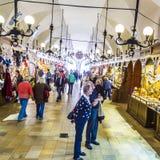 People inside the Kraków Cloth Hall Sukiennice Royalty Free Stock Image