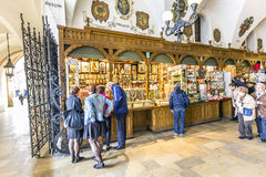 People inside the Krakow Cloth Hall Sukiennice Stock Images