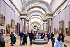 People inside the Louvre Museum (Musee du Louvre) Royalty Free Stock Photography
