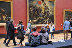 People inside the Louvre Museum (Musee du Louvre) Royalty Free Stock Image