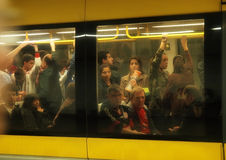 People inside metro at peak hour. Royalty Free Stock Images