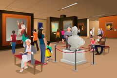 People Inside a Museum of Art. A vector illustration of people inside a museum of art Royalty Free Stock Photos