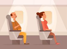People inside the plane. Vector. Cartoon. Isolated art Royalty Free Stock Images