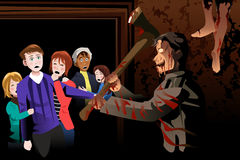 People Inside Scary House at Theme Park. A vector illustration of young people inside scary house at theme park Royalty Free Stock Image