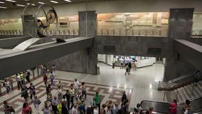 People inside Syntagma metro station in Athens stock footage