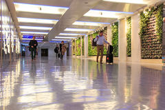 People inside the Taiwan Taoyuan International Airport. Taipei, Taiwan - January 9, 2015: People inside the Taiwan Taoyuan International Airport, the busiest Royalty Free Stock Photography