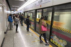 People inside the West Nanjing Shanghai Subway Station Royalty Free Stock Images