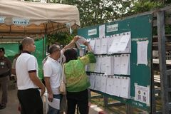 People inspect candidate lists before Pre-election at Khonkaen, Thailand royalty free stock photos