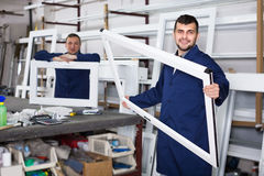 People are inspecting PVC manufacturing output Stock Images