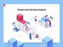 People interacting with charts and analysing statistics and data. Landing page template. 3d isometric vector illustration. vector illustration