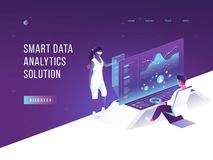 People interacting with charts and analysing statistics. Vurtual augmented reality. Customer tracking software. Data royalty free illustration