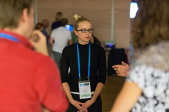 People interacting during coffee break at medical conference. Stock Photos
