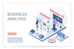 People interacting with virtual screen, analyzing business data and charts. Business data analysis website page stock illustration