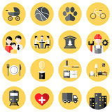 People Interests Flat Circle Icons Set over Yellow Royalty Free Stock Images