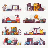 People Interests, Hobbies and Profession Icons. People interests and occupation equipment icons. Hobbies, professions and lifestyles concepts. Design Royalty Free Stock Image