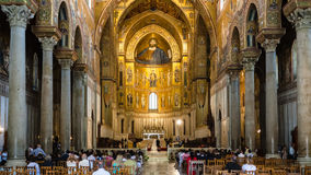 People in interior Duomo di Monreale in Sicily Stock Photography