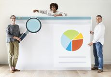 People with internet browser mockup stock image