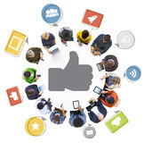 People with Internet and Thumbs Up Symbol Royalty Free Stock Photo