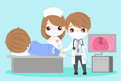 People and intestine. Cute cartoon doctor and patient with intestine health concept Stock Photo