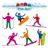 People involved in winter sport. Vector characters Stock Image