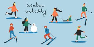 People involved in winter sports: skiing man and woman; woman with a child in a sleigh; skating people; woman making snowman. stock illustration