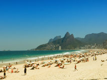 People on Ipanema Beach - Rio de Janeiro Royalty Free Stock Photo