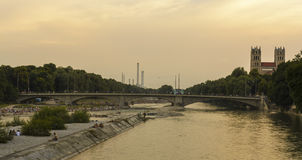 People on Isar river, Munich, Germany Stock Photography
