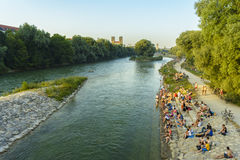 People on Isar river, Munich, Germany Royalty Free Stock Photos