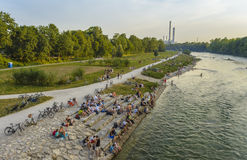 People on Isar river, Munich, Germany Royalty Free Stock Image
