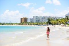 People on Isla Verde resort beach in Puerto Rico Stock Image