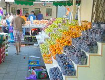 People on an Israel outdoor fruit and vegetable market Royalty Free Stock Images
