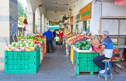 People on an Israel outdoor fruit and vegetable market Royalty Free Stock Photos