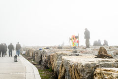 People in Istanbul in a very foggy day. Turkey royalty free stock photos