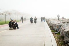 People in Istanbul in a very foggy day. Turkey stock photo