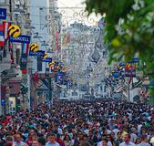 People on Istiklal Avenue (Istanbul, Turkey) Royalty Free Stock Image