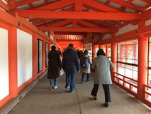 People at Itsukushima Shrine in Miyajima island stock photography
