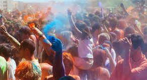 People at IV Festival de los colores Holi Barcelona Stock Images