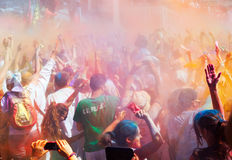 People at IV Festival de los colores Holi Barcelona Royalty Free Stock Images