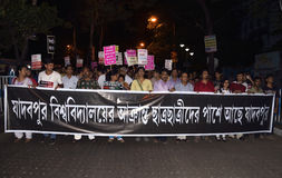 People of Jadavpur rallied against student assault Royalty Free Stock Photo