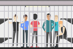 People in jail. People in jail in police station. Dangerous prisoners. Guilty and Royalty Free Stock Photos