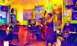 People in jazz cafe. Watercolor style royalty free stock photography